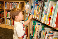 Young Boy Selecting a Library Book