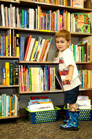Young boy in Friends of Lodi Public Library Bookstore